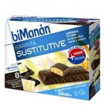 Bimanán Barritas Chocolate Negro y Blanco, 8u