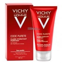 Vichy Homme Code Purete Fluido Hidratante Purificante Piel Sensible, 50ml