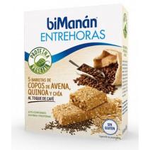 Bimanan Entrehoras Barritas Copos Avena Quinoa Chía Toque Café, 5Uds x 35g
