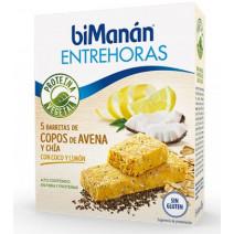 Bimanan Entrehoras Barritas Copos Avena Quinoa Chía Coco Limón, 5Uds x 35g