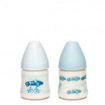 Suavinex Biberon Vintage Azul Boca Ancha tetina 3 Posiciones 150ml