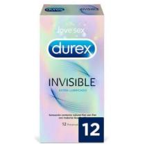 DUREX INVISIBLE EXTRA FINO EXTRA LUBRICADO PRESE 12 U