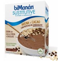 Bimanan Sustitutive Crema Avena Cacao y Copos de Cereales, 5sobres