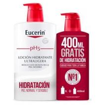 EUCERIN PACK LOCIÓN HIDRATANTE ULTRALIGERA 1000 ML + 400 ML