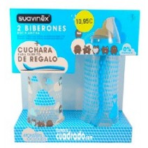 Suavinex Pack Biberon Tetina Boca Ancha 360ml + 270ml + Cucharita
